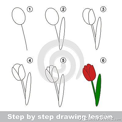 cours de dessin comment dessiner une tulipe illustration de vecteur image 65084595. Black Bedroom Furniture Sets. Home Design Ideas