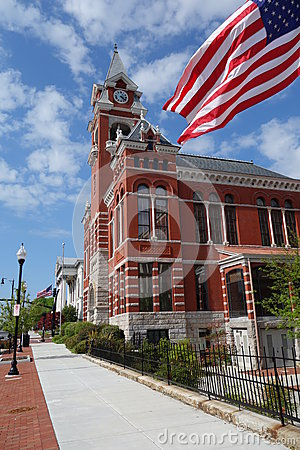Court House Wilmington, NC with American flag