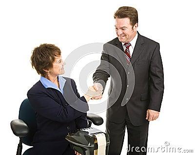 Court Reporter and Attorney Handshake