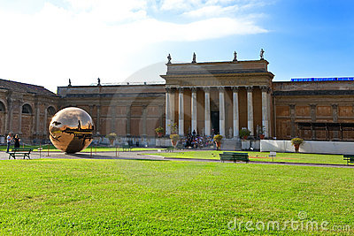 Court yard in Vatican. Sculpture the globe in cour Editorial Image