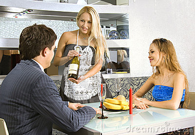 Courting couple and waitress