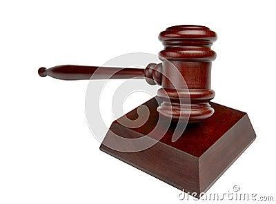 Courtroom gavel shot head on
