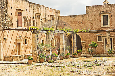 Courtyard of Arkadi Monastery.