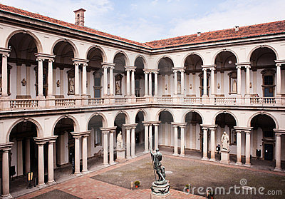 Courtyard of the Brera Palace in Milan. Editorial Image