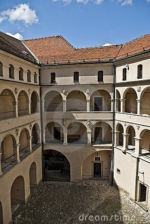 Courtyard castle arcades pieskowa skala