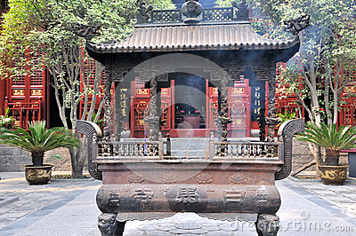 Courtyard and censer in Chinese temple Editorial Image