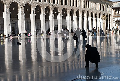 Courtyard of the great mosque of Damascus Editorial Stock Image