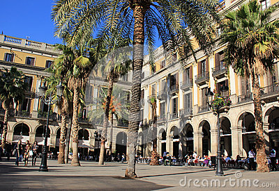Plaza Real in Barcelona, Spain Editorial Stock Photo