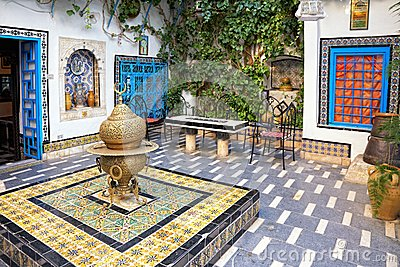 Courtyard at Sidi Bou Said, Tunis, Tunisia