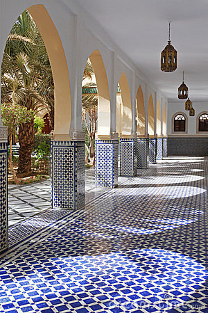 Free Courtyard With Arches And Tiles In Moroccan Style Stock Image - 24172571
