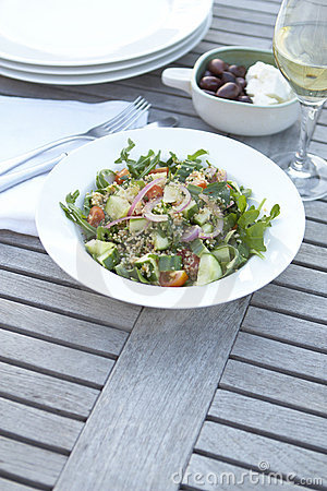 Couscous salad on outdoor table