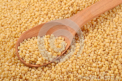 Couscous in a spoon Stock Photo