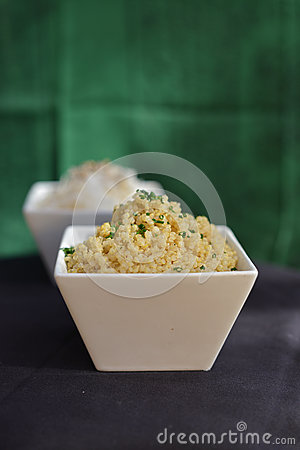 Couscous in white bowl
