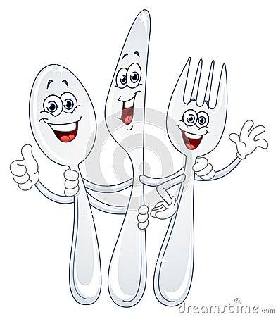 Couteau de cuill re et dessin anim de fourchette photographie stock libre de droits image - Cuillere dessin ...