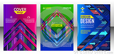 Cover brochure with abstract diagonal and vertical colorful arro Vector Illustration