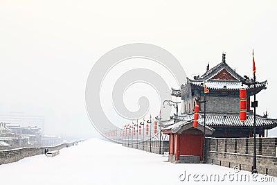 Coverd de rempart par la première neige de 2011