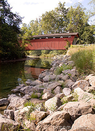 Covered bridge over river
