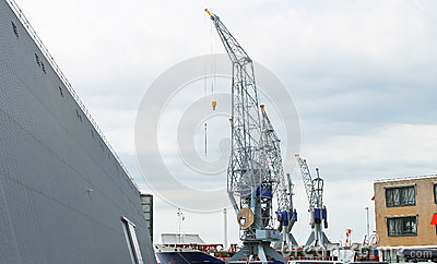 Covered dock and cranes