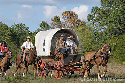 Covered Wagon in civil war reenactment Editorial Image