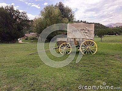 Covered wagon at Rock Ledge Ranch Editorial Image