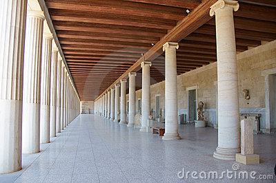 Covered walkway and Greek columns