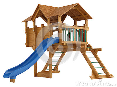 Covered wooden platform and slide