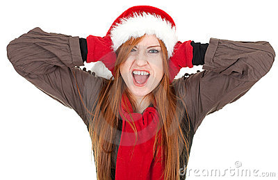 Covering ears shouting woman in red Christmas hat