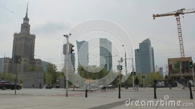 Center of Warsaw during COVID-19 2020 year stock video footage