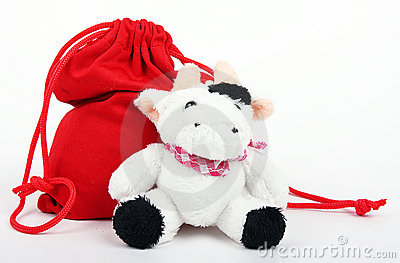 Cow And Bag With Gifts