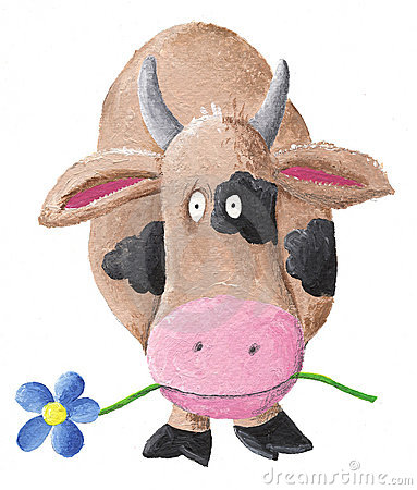Cow with BLUE flower