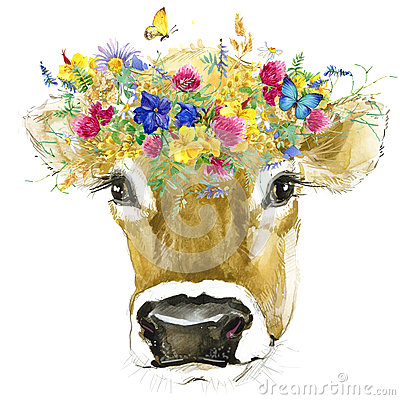Free Cow. Cow Watercolor Illustration. Milking Cow Breed. Stock Photos - 69130093