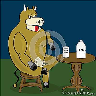 Cow drinking milk