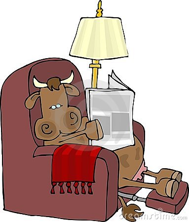 Cow in an easy chair