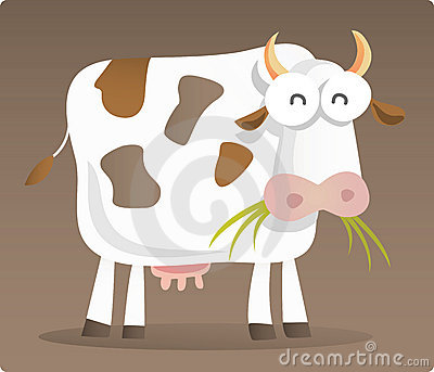 Cartoon illustration of Cow eating grass with brown background. Keywords: