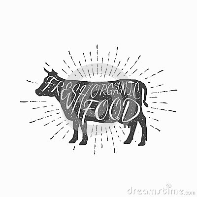 Cow Farm Animal Icon Butchery Concept Isolated on grill design for home