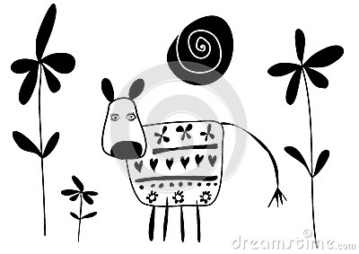 Cow with flowers vector illustration