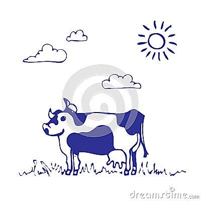 Cow grazes