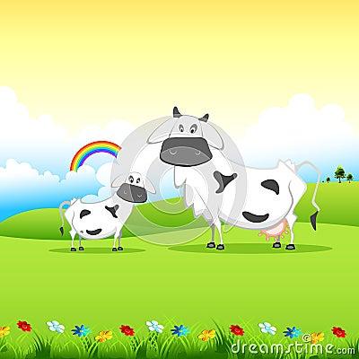 Cow grazing in field