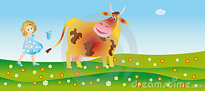 A cow helps to a little city dweller milk