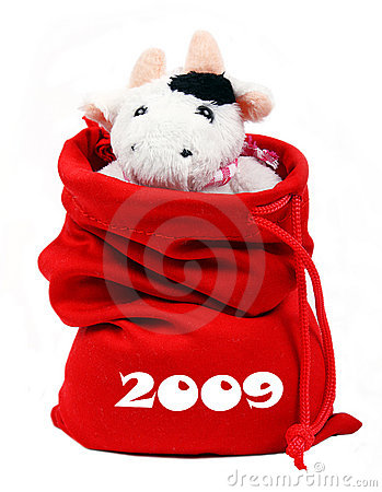Free Cow In Santa S Bag 2009 Royalty Free Stock Photo - 7217705