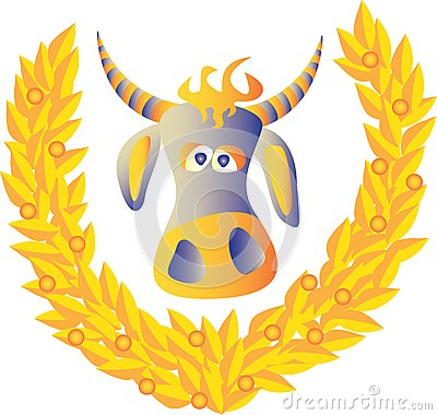 Cow and a laurel wreath