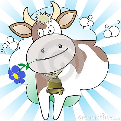Cow on the radiant background