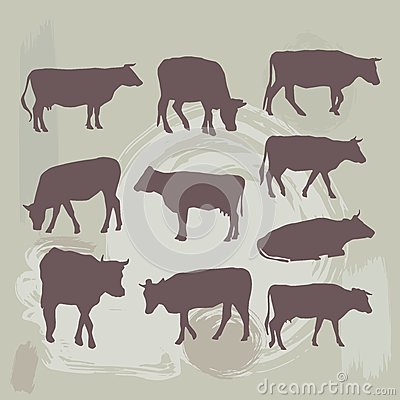 Free Cow Set Silhouette On Grunge Background. Vector Royalty Free Stock Photography - 48925807