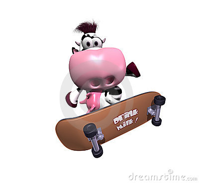Cow on a skateboard