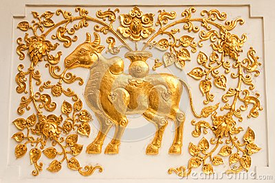 Cow in traditional Thai style molding art
