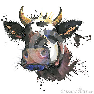 Free Cow Watercolor Graphics. Cow Animal Illustration Stock Image - 62692861