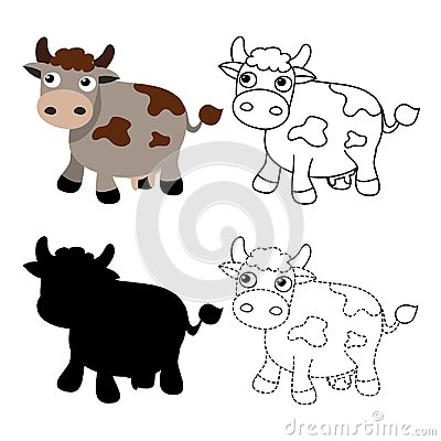 Free Cow Worksheet Vector Design Royalty Free Stock Photos - 124266918