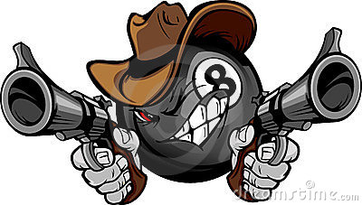 Cowboy åtta för bollbiljardtecknad film pool shootout