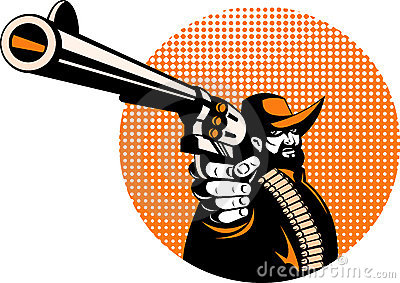 Cowboy aiming a pistol gun