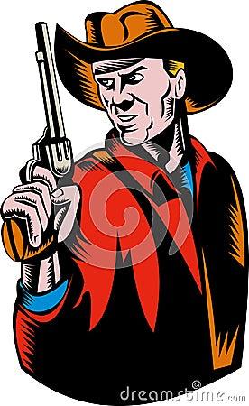 Cowboy aiming pistol gun